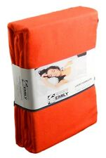 "Double Bed 15"" Extra Deep Fitted Sheet Brushed Cotton Flannelette Flame Orange"