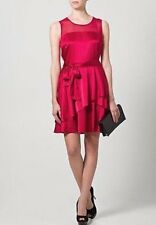 $395 DKNY Crimson Red Silk Stretch Satin Illusion Tiered Sash Dress 8 NWT D307