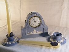 "Wedgwood "" Jasper Ware ""  Laurel Mantle Clock & Candlesticks & FREE Candle's !!!"