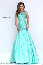 Sherri Hill 50111 Seafoam Green Stunning Pageant Prom Gown Dress sz 6