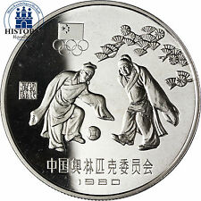 #678 China 30 Yuan Silber 1980 PP Olympische Spiele in Moskau Fussball