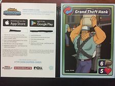 Fox Animation Throwdown Mobile Game King of the Hill Hank Promo Card with Code
