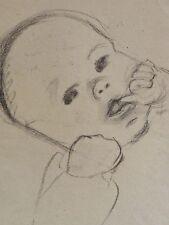 Barthel GILLES (1891-1977)  Kohle-? Stiftzeichnung: BABY MIT DAUMEN IM MUND