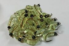 1 Dozen BH Rubber Wax Worm Grub Light Green  Wet Fly - Trout, Crappie, Pan Fish