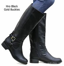 New Women SBio Tan Black Gray Brown Buckle Riding Knee High Boots size 5.5 to 11