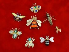 Vintage Brooches Bumble Bee Bug Rhinestones Gemstones Large & Small Lot of 8