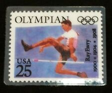 Ray Erwy, Track and Field, 1900 1904 1908 Summer Olympics Stamp Pin. USPS Issued