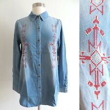 NWT Forever 21 Southwestern embroidery chambray shirt size SMALL or EXTRA SMALL