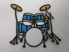 Rock Drum Set Silver Black Iron On Applique Patch