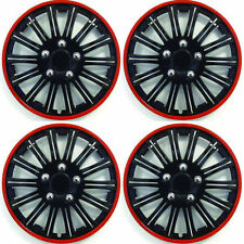 "Peugeot 206 Cc 2001-2007 14"" Lightning Blk/Red Trims Wheel Covers Caps Hubs"