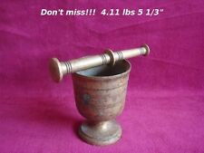 """19th C. ANTIQUE SOLID BRONZE APOTHECARY PHARMACY MORTAR & PESTLE 5 1/3""""/ 4.11lbs"""