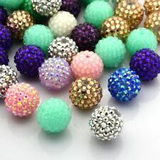 100pcs Chunky Resin Rhinestone Bubblegum Round Ball Beads Randomly Mixed Color