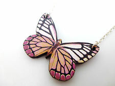 "STATEMENT PINKS & WHITE WOODEN BUTTERFLY SILVER 18"" NECKLACE PENDANT"