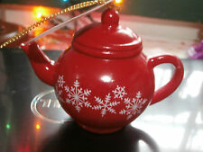 2013 Sandra Lee Ornament Teapot Hot Cocoa Chocolate Snowflakes Red