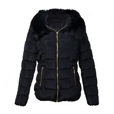 Ladies Quilted Padded Down Cotton Parka Lady Short Fur Collar Hooded Coat Jacket