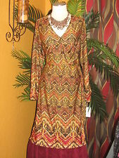 NY COLLECTION NWT 2X $70 womens dress earth tones tie on side disco wrap around