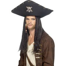 Black Pirate Hat w Skull & Crossbones Fancy Dress Caribbean Jack Sparrow Hook