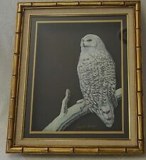 Vintage Snowy Owl Three Dimensional Bamboo Framed 3D Shadowbox Art.