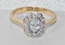 Art Deco 9ct Yellow Gold on Silver 0.75ct Aquamarine Cluster Ring - size N