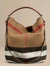 BURBERRY BRIT SUSANNA ASHBY MEDIUM HOBO CANVAS CHECK AND LEATHER BAG