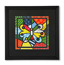 "ROMERO BRITTO LARGE ""BUTTERFLY""  FRAMED PRINT  NEW"