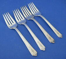 Monarch Silver 4 Salad Forks Silverplate Flowers Panels VINTAGE