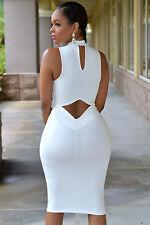 Mini Abito aperto trasparente Nudo aderente Cutout Back dress clubwear skinny
