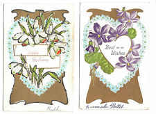 Best Wishes Happy Birthday Violets Narcissus Hearts 2 Vntg Embossed Postcards
