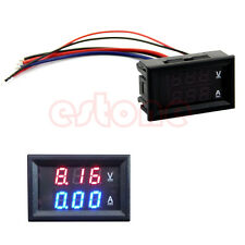 DC 100V 10A Voltmeter Ammeter Red + Blue LED Amp Dual Digital Volt Meter Gauge