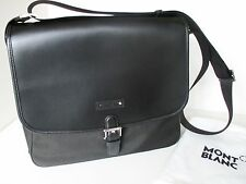 MONTBLANC MEISTERSTUCK UNISEX CANVAS AND LEATHER MESSENGER BAG BLACK NEW 106726
