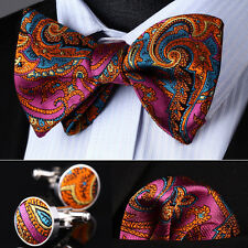 BZP12K Hot Pink Orange Paisley Men Silk Self Bow Tie handkerchief Cufflinks set
