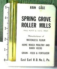 Metal Plastic Tube Spring Grove Roller Mills Pa Advertising Rain Gauge / Gage