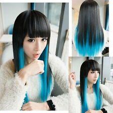 Beau bleu perruque longue ligne droite noir mixtecosplay wig+hairnet