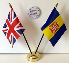 United Kingdom & Madeira Double Friendship Table Flags & Badge Set