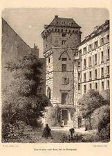 PARIS TOUR DE JEAN SANS PEUR DUC DE BOURGOGNE 1878 ENGRAVING