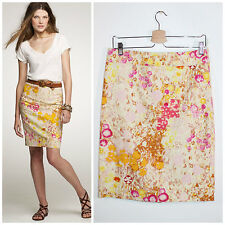 J.Crew Sunshine Peony Watercolor Floral Pink Yellow Pencil Skirt 6