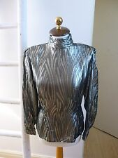 Unbranded true vintage shinny metallic silver space age shirt/blouse size S