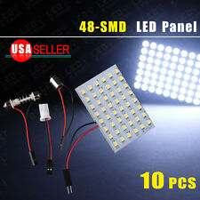 10 X Festoon/T10/BA9S Cool White 7000K LED 48-SMD Panel Dome Map Interior Lights