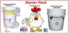 POULTRY  STARTER  SET -1 Automatic Waterer &1 NO WASTE Automatic Chicken Feeder