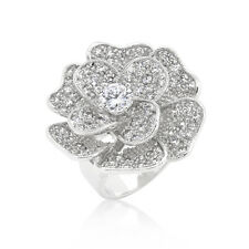 Large Flower Clear Cubic Zirconia April Birthstone Cocktail Ladies Ring Size 10