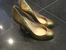 Juicy Couture New & Genuine Ladies Gold Leather Heeled Shoes UK Size 4.5 EU 37.5
