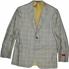 ISAIA GRAY W/ YELLOW CHECK PATTERN MEN'S CASHMERE JACKET-52/42-MADE IN ITALY