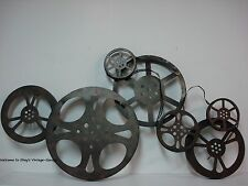 *METAL DECOR* Large Cinema Theater Movie Reels Home Wall Art Plaque Ribbon Film