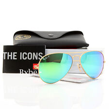NEW AUTHENTIC RAY BAN AVIATOR RB3025 112/P9 58MM POLARIZED GREEN MIRROR GOLD FRM