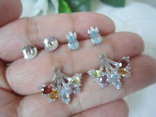 Natural AMETHYST GARNET PERIDOT CITRINE TOPAZ CZ Sterling Silver 2in1 EARRINGS