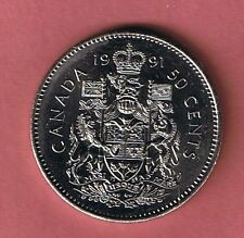 1991 CANADA  HALF DOLLAR $1 FIFTY CENT 50¢ PIECE COIN CANADIAN  FROM MINT ROLL