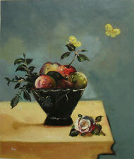 """Oil Painting of Fruit in Bowl by Flowers Portrait Still Life 20x24"""" Canvas"""