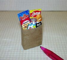 Miniature Paper Grocery Sack Bag of Groceries: DOLLHOUSE Miniatures 1/12