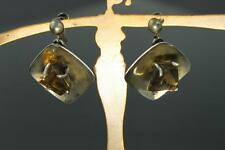 Pair of Vintage Signed TAXCO MEXICO Sterling Silver Smoky Quartz Dangle Earrings