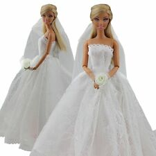Fashion Bridal Wedding Clothes Embroidery Princess Gown &Veil For Barbie Doll#21